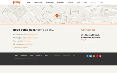 Screenshot of Contact Page yummly.com - Contact Yummly   Yummly - captured Sept. 17, 2014