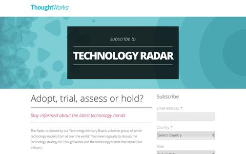 Screenshot of Landing Page thoughtworks.com - ThoughtWorks Technology Radar - captured Aug. 3, 2016