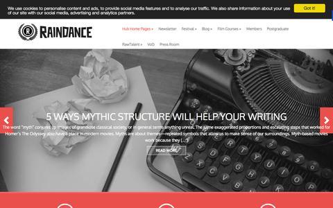 Screenshot of Home Page raindance.org - Raindance Main Home Page - Raindance - captured Oct. 24, 2015
