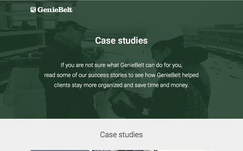 Screenshot of Case Studies Page geniebelt.com - Construction Management Case Studies - GenieBelt - captured Feb. 20, 2017