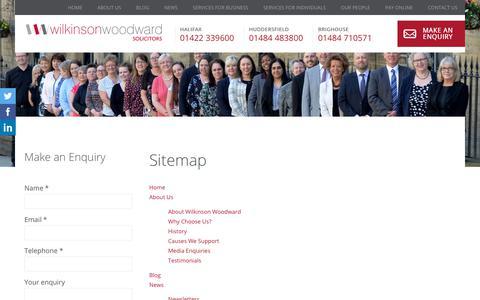Screenshot of Site Map Page wilkinsonwoodward.co.uk - Sitemap- Wilkinson Woodward Solicitors - captured Sept. 21, 2018