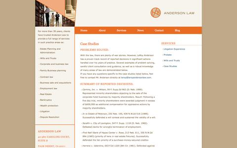 Screenshot of Case Studies Page leroyandersonlaw.com - Case Studies - LeRoy Anderson Law - captured Oct. 2, 2014