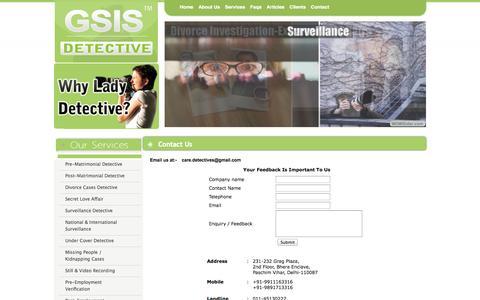 Screenshot of Contact Page gsisdetective.com - Detective In Bhopal- Detective Agency In Bhopal- Private Detectives Agency In Bhopal - captured Sept. 30, 2014
