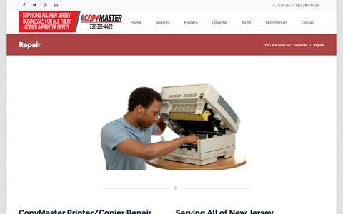 Screenshot of Services Page copymasternj.com - Copy Master   CopyMaster Repair   CopyMaster Repair NJ - captured Sept. 29, 2018