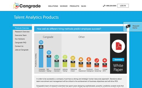 Screenshot of Products Page cangrade.com - Talent Analytics Products - Cangrade - captured May 9, 2017