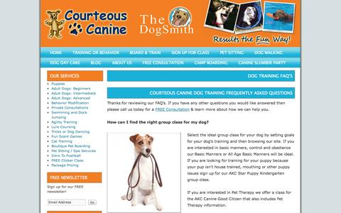 Screenshot of FAQ Page courteouscanine.com - Dog Training FAQ's | Courteous Canine - captured Oct. 2, 2014