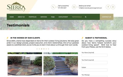 Screenshot of Testimonials Page sierralandscapemanagement.com - Testimonials   Sierra Landscape Management - captured July 2, 2018