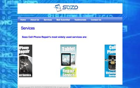 Screenshot of Services Page sozocellphonerepair.com - Sozo Cell Phone Repair - Services - captured Jan. 11, 2016