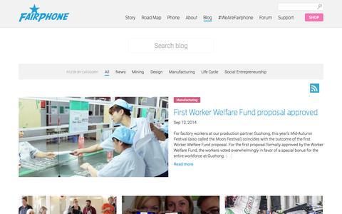Screenshot of Blog fairphone.com - Blog | Fairphone - captured Sept. 16, 2014