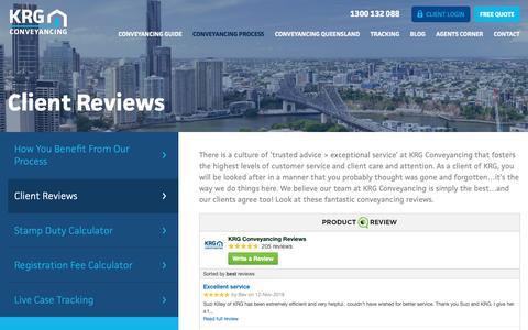 Screenshot of Testimonials Page krg.com.au - Brisbane & Gold Coast Conveyancing Client Reviews | KRG Conveyancing - captured Nov. 15, 2018