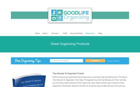 Screenshot of Products Page goodlifeorganizing.net - Favorite Organizing Products - Good Life Organizing - captured Sept. 30, 2014