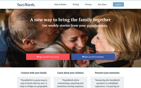 Screenshot of Home Page storyworth.com - A new way to bring the family together – StoryWorth - captured Feb. 19, 2016