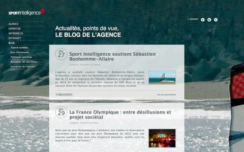 Screenshot of Blog sport-intelligence.fr - sport intelligence - blog - captured Jan. 11, 2016