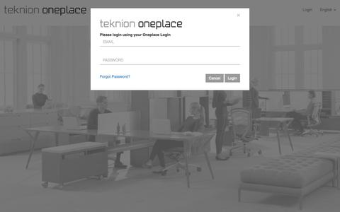 Screenshot of Login Page teknion.com - Teknion OnePlace - captured May 18, 2019