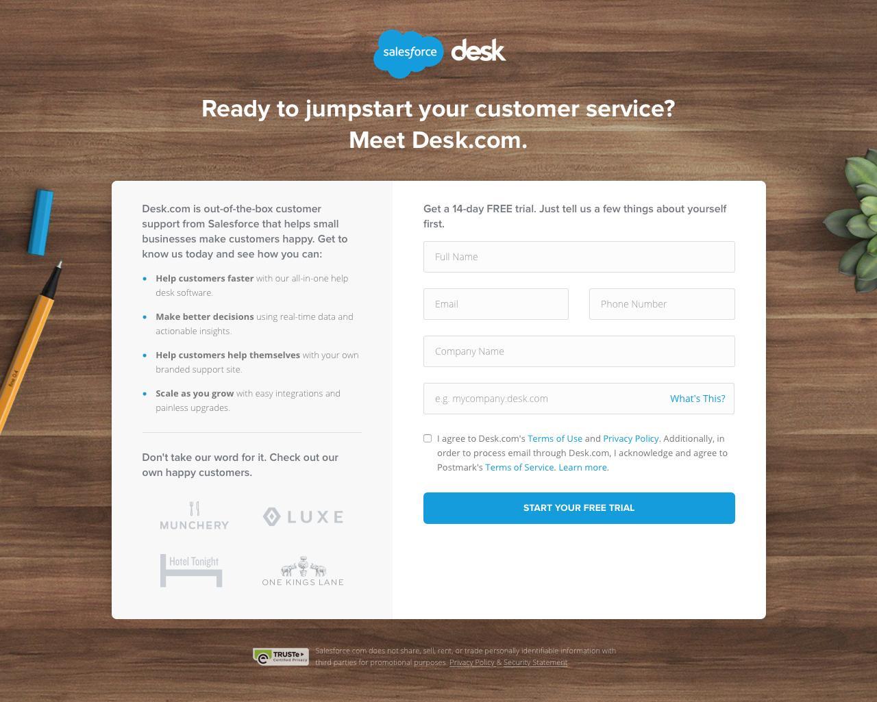 Screenshot of desk.com - Desk.com - Free 14-day Trial - captured Feb. 11, 2016