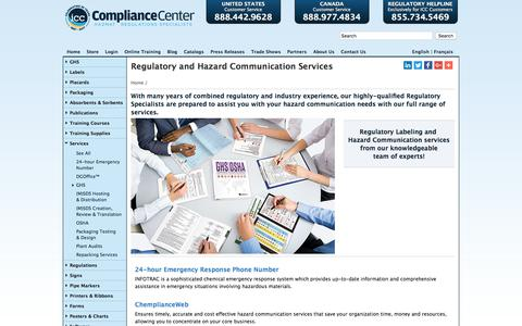 Screenshot of Services Page thecompliancecenter.com - Services | ICC - captured Jan. 30, 2018