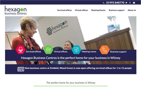 Screenshot of Home Page hexagonbusinesscentres.co.uk - The perfect home for your business in Witney | Hexagon Business Centres - captured May 19, 2017