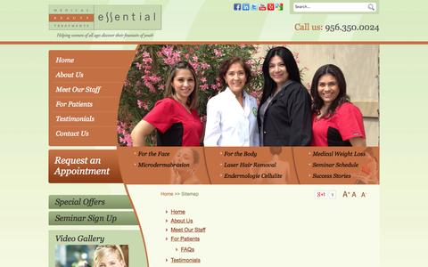 Screenshot of Site Map Page essentialbrownsville.com - Sitemap - Essential Medical Beauty Treatments Brownsville, TX - captured Oct. 3, 2014