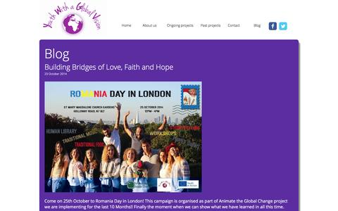 Screenshot of Blog youthwithaglobalvision.org - Youth with a Global Vision - captured Jan. 10, 2016