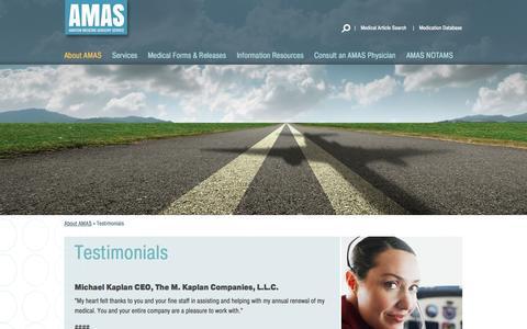 Screenshot of Testimonials Page aviationmedicine.com - Testimonials | AMAS - captured Oct. 5, 2014