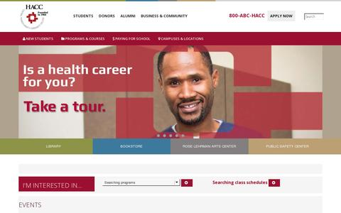 Screenshot of Home Page hacc.edu - HACC, Central Pennsylvania's Community College Home Page - captured July 11, 2014