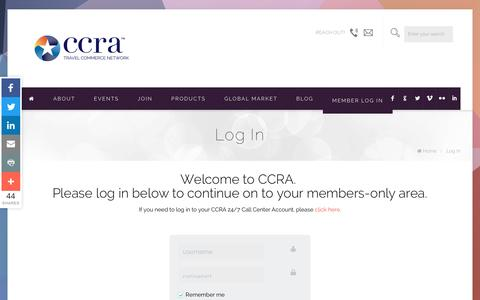 Screenshot of Login Page ccra.com - Log In   CCRA Travel Commerce Network - captured Aug. 28, 2016