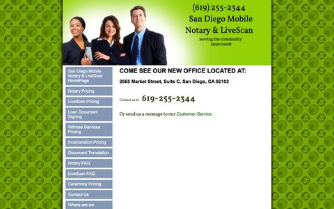 Screenshot of Contact Page sandiegocountymobilenotary.com - san diego notary public, San Diego County Mobile Notary Service San Diego, CA Contact Us - captured Oct. 3, 2014