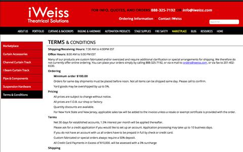 Screenshot of Terms Page iweiss.com - iWeiss Theatrical Solutions  Terms & Conditions - captured Oct. 16, 2017