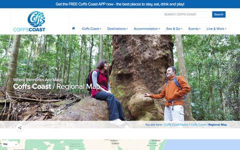 Screenshot of Maps & Directions Page coffscoast.com.au - Regional Map | Coffs Coast - captured March 8, 2016