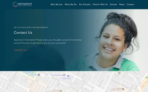 Screenshot of Contact Page partnershipla.org - Contact | The Partnership for Los Angeles Schools - captured July 16, 2017