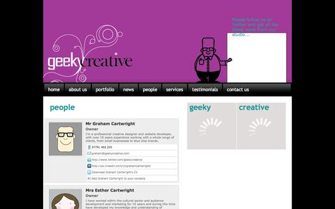 Screenshot of Team Page geekycreative.com - Graham & Esther Cartwright are the people behind GeekyCreative based in TF7 - captured Sept. 29, 2014