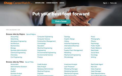 Screenshot of Jobs Page careermatch.com - Discover Entry Level Jobs | Chegg CareerMatch - captured Nov. 4, 2018
