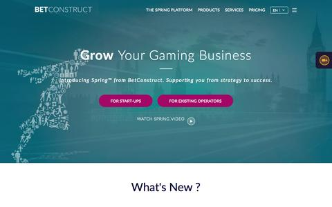 Screenshot of Home Page betconstruct.com - Online Gaming and Sports Betting Software | BetConstruct - captured June 17, 2015