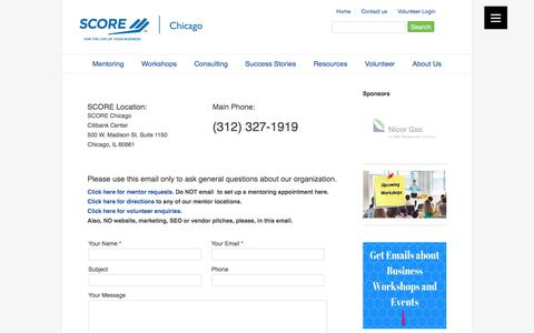 Screenshot of Contact Page scorechicago.org - Contact SCORE Chicago - captured Aug. 15, 2017