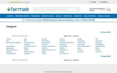 Screenshot of Site Map Page farmae.it - Site map - Para-farmacia Online di cosmesi, para-farmaci, erboristeria e omeopatia - captured Feb. 23, 2020