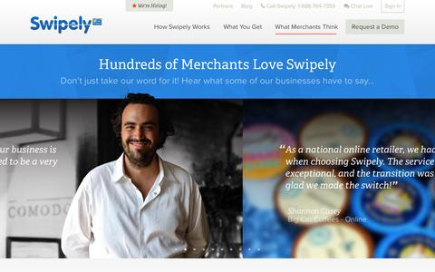 Screenshot of Testimonials Page swipely.com - Business Management Testimonials of Hundreds of Merchants - Swipely - captured Sept. 17, 2014