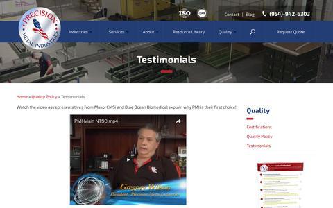 Screenshot of Testimonials Page pmiquality.com - Testimonials - Precision Metal Industries - captured Nov. 10, 2016