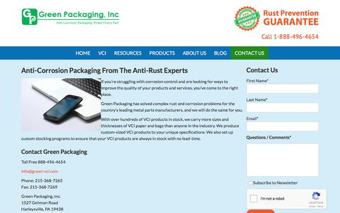 Screenshot of Contact Page green-vci.com - Contact Green Packaging: A Leader In Anti-Rust Packaging | Green Packaging, Inc. | green-vci.com - captured Nov. 15, 2016