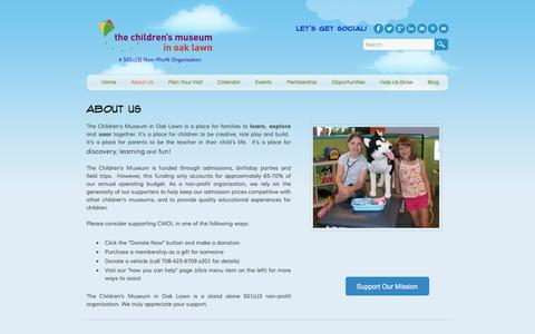 Screenshot of About Page cmoaklawn.org - About Us - Children's Museum in Oak Lawn - captured Jan. 27, 2016