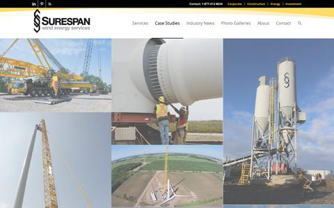 Screenshot of Case Studies Page surespanwind.com - Case Studies - Surespan Wind - captured Oct. 18, 2018