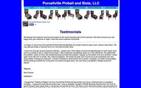 Screenshot of Testimonials Page purcellvillepinball.com - Purcellville Pinball and Slots, LLC - captured Oct. 6, 2014