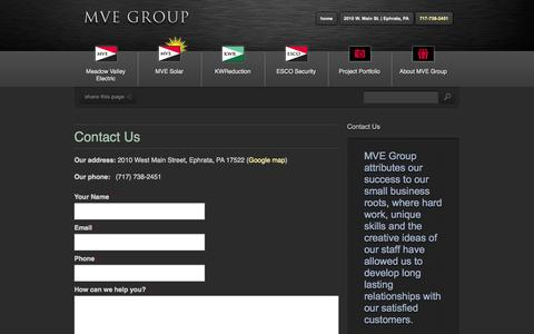 Screenshot of Contact Page mvegroup.com - Contact Us - MVE Group - captured Sept. 30, 2014