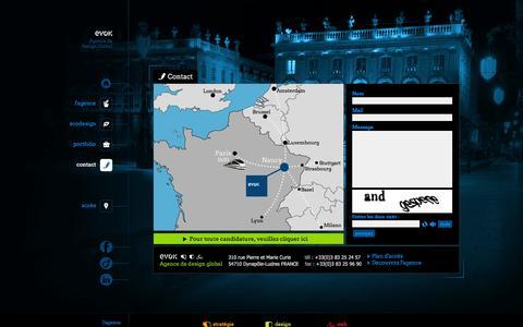 Screenshot of Contact Page evok.fr - Evok / Contact - Agence de design, agence de communication, agence web - Nancy Lorraine - captured Oct. 3, 2014