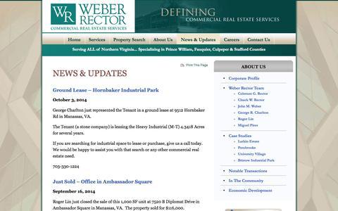 Screenshot of Press Page weber-rector.com - Industrial Real Estate News | News & Updates - Weber Rector, Inc. - captured Oct. 7, 2014