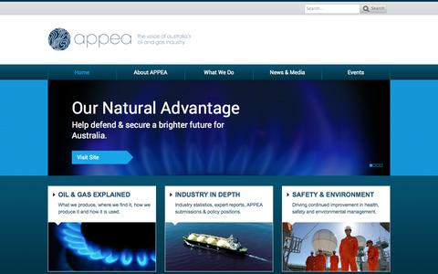 Screenshot of Home Page appea.com.au - APPEA | The Voice of Australia's Oil and Gas Industry - captured Sept. 19, 2014