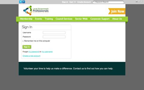 Screenshot of Login Page lgprofessionals.com.au - Sign In - captured Oct. 3, 2014