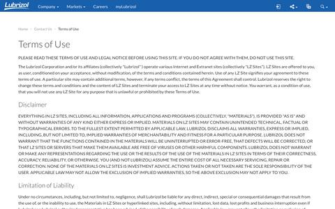 Screenshot of Terms Page lubrizol.com - Terms of Use - Lubrizol - captured Oct. 30, 2017