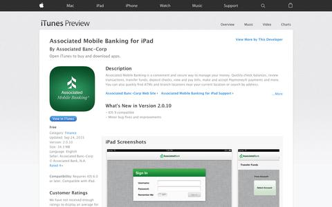 Screenshot of iOS App Page apple.com - Associated Mobile Banking for iPad on the App Store - captured Nov. 14, 2015