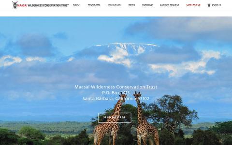 Screenshot of Contact Page maasaiwilderness.org - Contact Us • Maasai Wilderness Conservation Trust - captured July 9, 2018