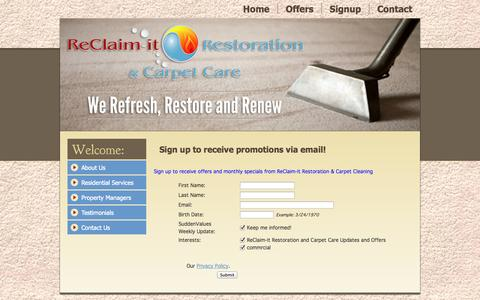 Screenshot of Signup Page reclaimitva.com - Reclaim It Restoration & Carpet Care: We Refresh, Restore & Renew - captured Oct. 7, 2014